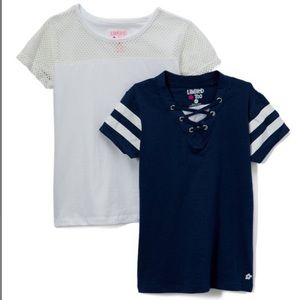 Girls white mesh-sleeve Tee & blue lace up Tee
